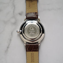 Muat gambar ke penampil Galeri, Christyan Arden LENORE CA3207 - Around The World Edition - Silver Sunburst Dial - Brown Full Grain Strap (Pria)