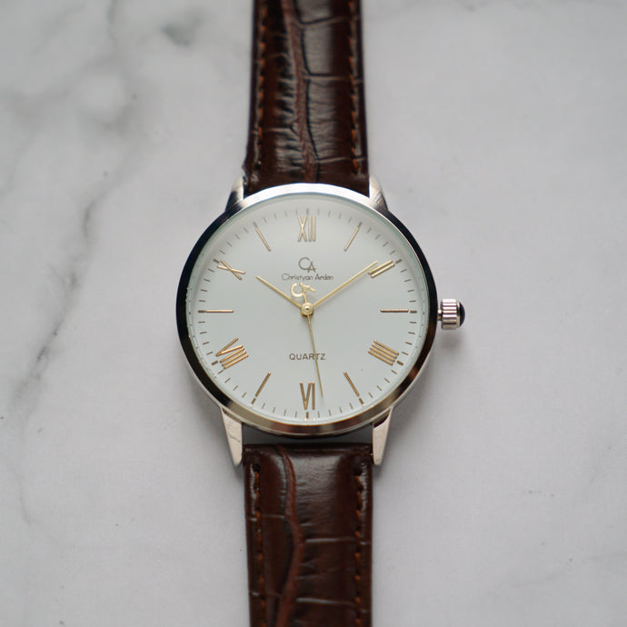Christyan Arden CLEO CA3206 - Around The World Edition - White Dial - Brown Full Grain Strap (Pria)