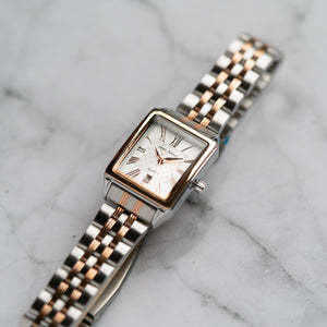 Jean Alexis WILMER LST JA123 - Prestige Edition - Silver & Rosegold Stainless Steel Strap - Rosegold Case - White Dial (28mm)