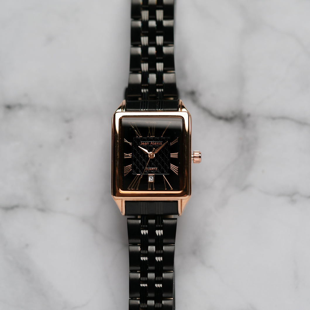Jean Alexis WILMER LHST JA123 - Prestige Edition - Black Stainless Steel Strap - Rosegold Case - Black Dial (25mm)