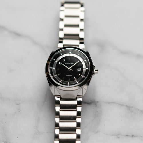 Jean Alexis THEODOR LT JA118 - Prestige Edition - Silver Stainless Steel Strap - Silver Case - Black Dial (32mm)