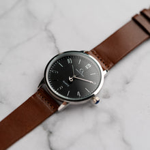 Load image into Gallery viewer, New Christyan Arden KARAN CA3204 - Around The World Edition - Black Dial - Brown Full Grain Strap (Pria)