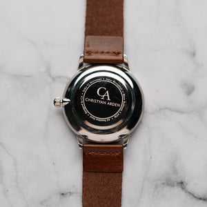 New Christyan Arden KARAN CA3204 - Around The World Edition - Black Dial - Brown Full Grain Strap (Pria)