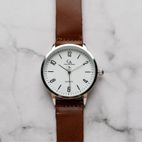 New Christyan Arden KARAN CA3204 - Around The World Edition - White Dial - Brown Full Grain Strap (Pria)