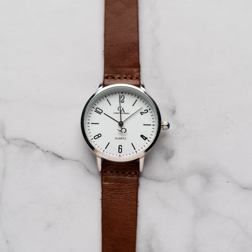 New Christyan Arden KARAN CA3204 - Around The World Edition - White Dial - Brown Full Grain Strap (Wanita)