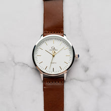 Load image into Gallery viewer, New Christyan Arden OTHELLO CA3208 - Around The World Edition - White Dial - Brown Full Grain Strap (Pria)