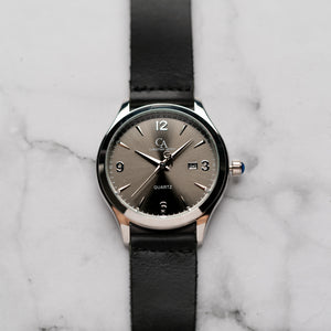 New Christyan Arden PEARCE CA3105 - Around The World Edition - Grey Sunburst Dial - Black Full Grain Strap (Pria)