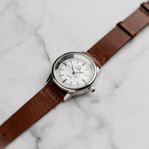 New Christyan Arden XANDER CA3210 - Around The World Edition - White Dial - Brown Full Grain Strap (Wanita)