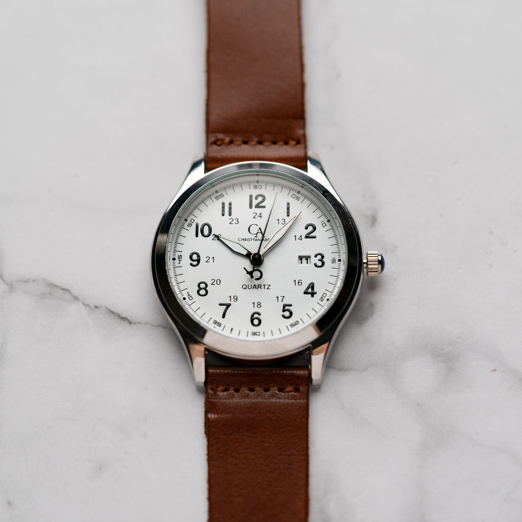 New Christyan Arden NYKE CA3101 - Around The World Edition - White Dial - Brown Strap (Pria)