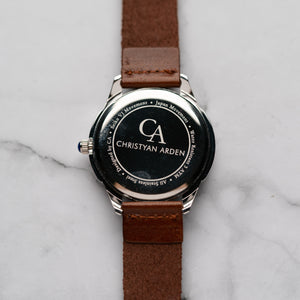 New Christyan Arden FELIPE CA3108 - Around The World Edition - Black Dial - Brown Full Grain Strap (Pria)