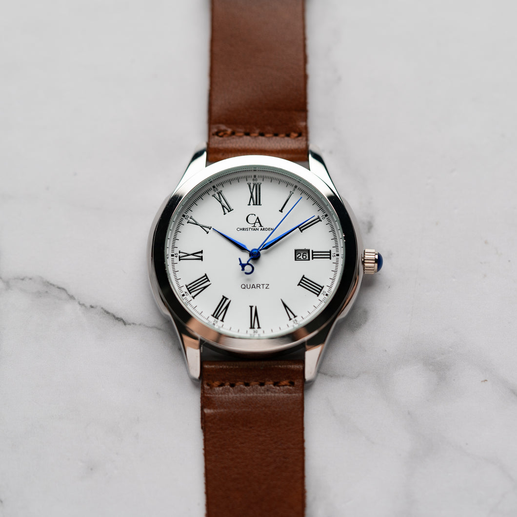 New Christyan Arden FELIPE CA3108 - Around The World Edition - White Dial - Brown Full Grain Strap (Pria)