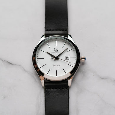 New Christyan Arden GENESIS CA3104 - Around The World Edition - White Dial - Black Full Grain Strap (Pria)