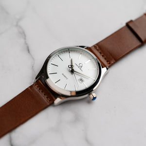 New Christyan Arden GENESIS CA3104 - Around The World Edition - White Dial - Brown Full Grain Strap (Pria)