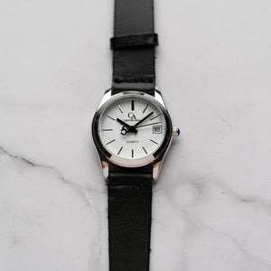 New Christyan Arden GENESIS CA3104 - Around The World Edition - White Dial - Black Full Grain Strap (Wanita)