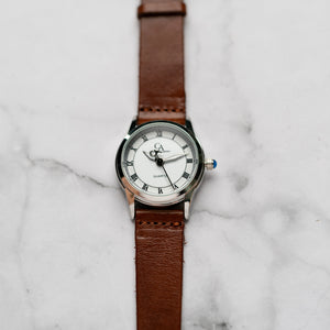 New Christyan Arden FALANA CA3212 - Around The World Edition - White Dial - Brown Full Grain Strap (Wanita)
