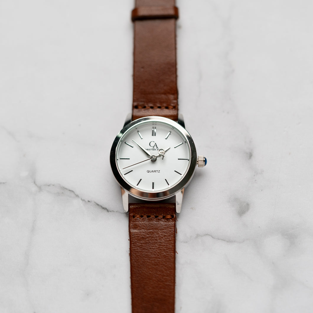 New Christyan Arden GALENA CA3216 - Around The World Edition - White Dial - Brown Full Grain Strap (Wanita)