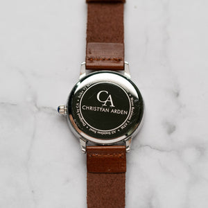 New Christyan Arden OWEN CA3213 - Around The World Edition - White Dial - Brown Full Grain Strap (Pria)