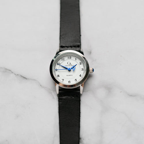 New Christyan Arden OWEN CA3213 - Around The World Edition - White Dial - Black Full Grain Strap (Wanita)
