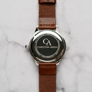 New Christyan Arden AVA CA3215 - Around The World Edition - White Dial - Brown Full Grain Strap (Pria)