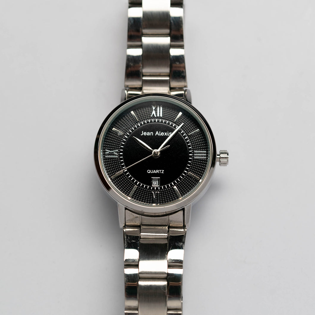 Jean Alexis HOLGER LT JA108 - Prestige Edition - Silver Stainless Steel Strap - Silver Case - Black Dial (32mm)