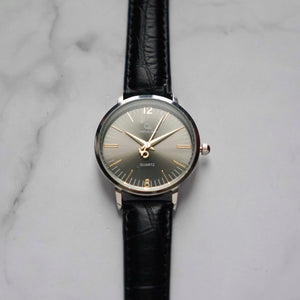 Christyan Arden THEO CA3205 - Around The World Edition - Grey Sunburst Dial - Black Full Grain Strap (Wanita)