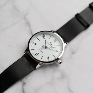 New Christyan Arden KARAN CA3204 - Around The World Edition - White Dial - Black Full Grain Strap (Pria)