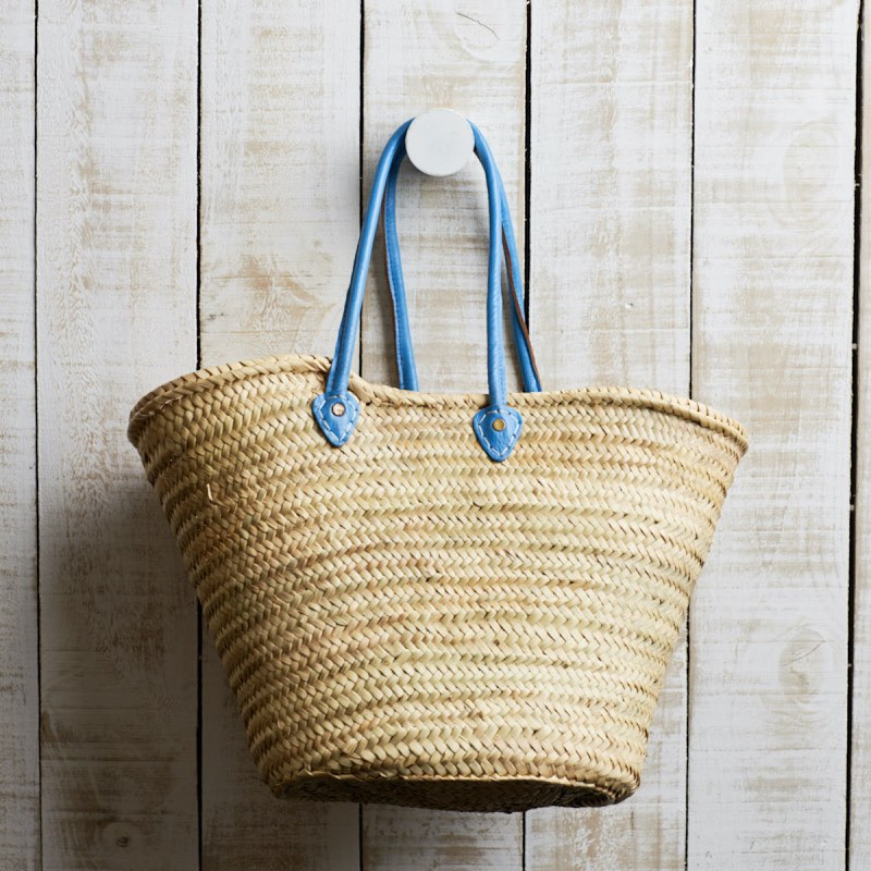 Amalfi market basket with blue handles NZ