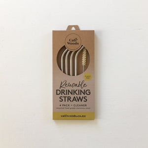 Caliwoods Stainless Steel Bent Drinking Straw Pack NZ