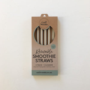 Caliwoods Stainless Steel Smoothie Straw Pack NZ