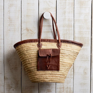 The French Market Basket with Leather Trim and Pocket is perfect for your farmers market shopping.