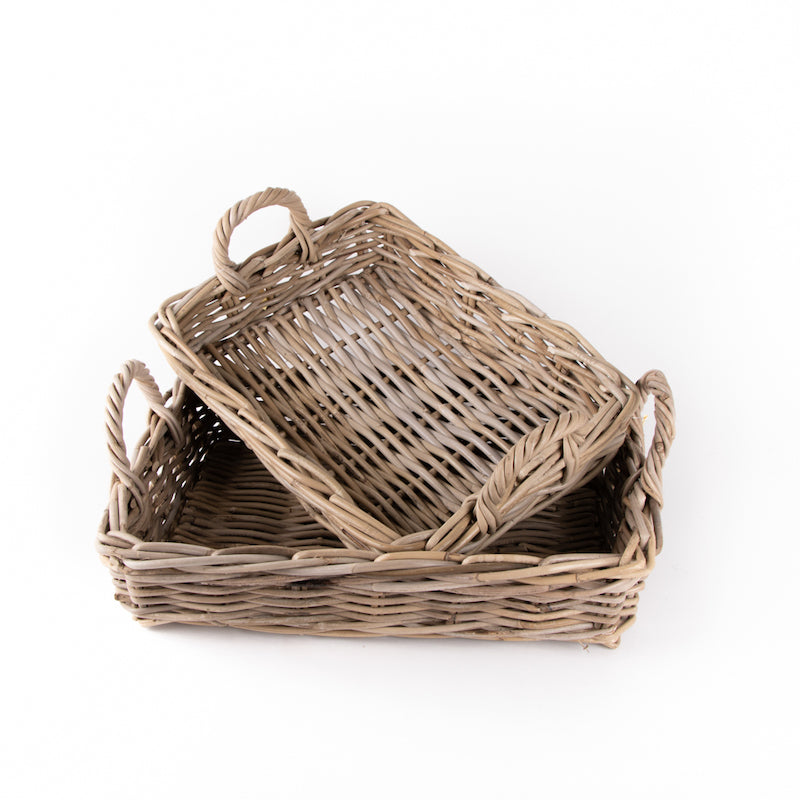 Grey Rattan Tray Baskets