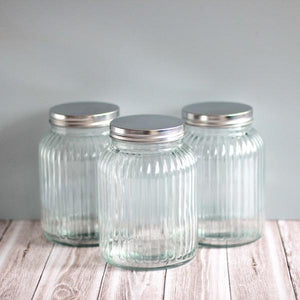 Medium sized ribbed glass canisters for pantry storage NZ