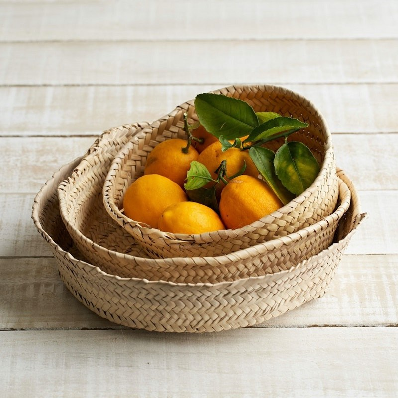 Shallow Woven Baskets for storing fruits and vegetables in your kitchen