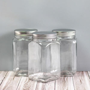 Medium sized square glass canisters for pantry storage NZ