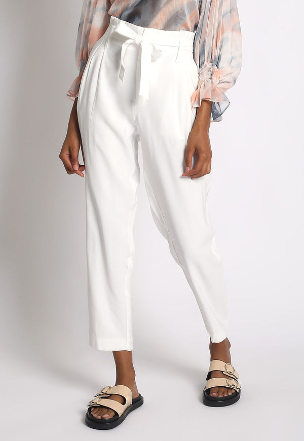 Self Tie Belt Trousers White - WORLD OF MONOKROME