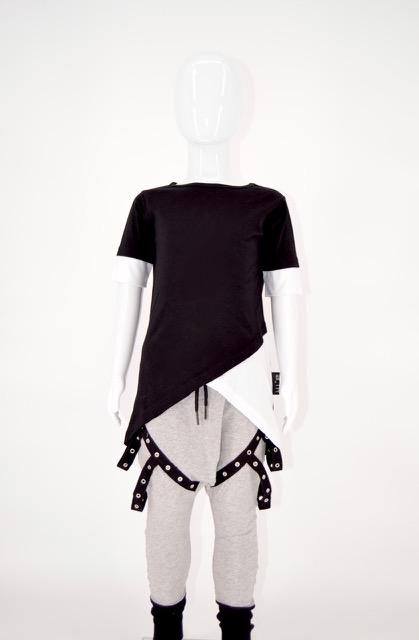 Double Cross Tall Tee Black - WORLD OF MONOKROME