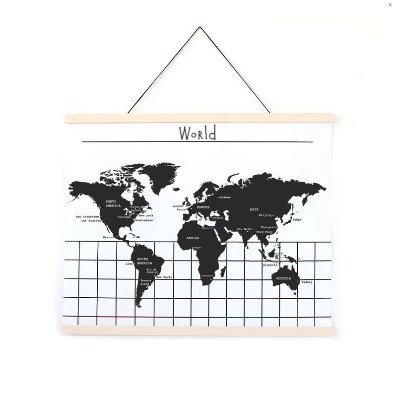 Hanging World Map Chart - WORLD OF MONOKROME