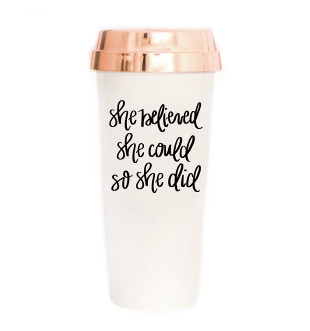 Travel Mug She Believed - WORLD OF MONOKROME
