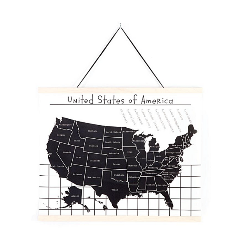 Hanging Map of USA Chart