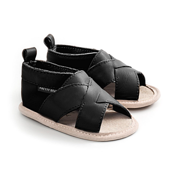 Castle Black Cross Over Sandal - WORLD OF MONOKROME