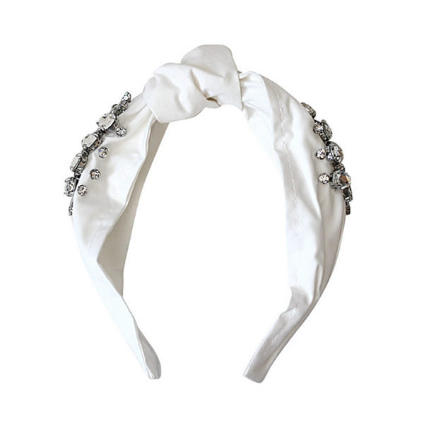 Charmed Top Knot Headband White - WORLD OF MONOKROME