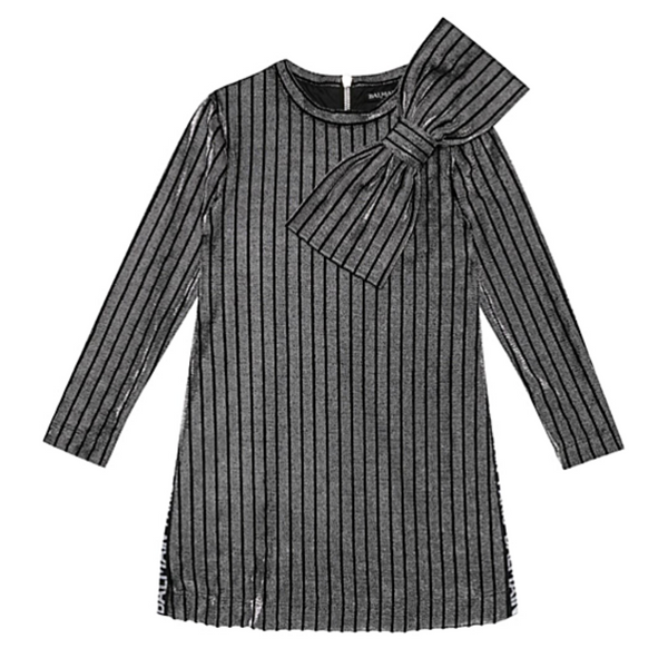 Striped Metallic Knit Dress - WORLD OF MONOKROME