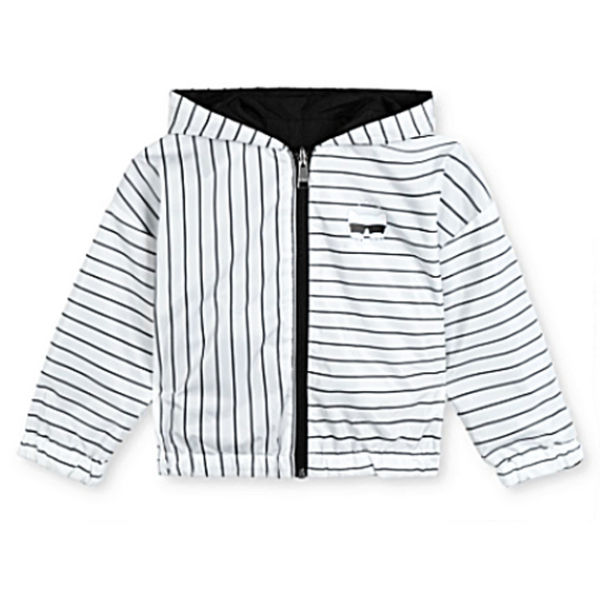 Reversible Striped Solid Hooded Jacket - WORLD OF MONOKROME