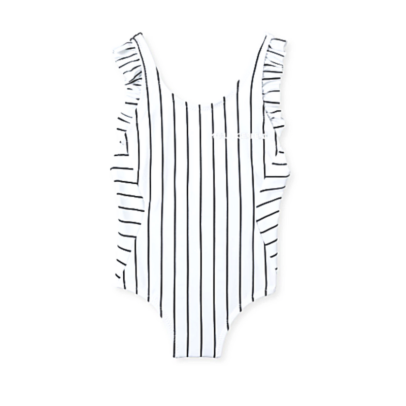 Striped Ruffle Swimsuit - WORLD OF MONOKROME