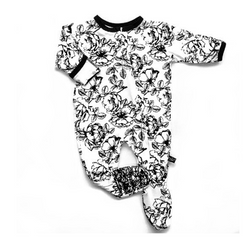 Bamboo Footed Onesie Floral - WORLD OF MONOKROME
