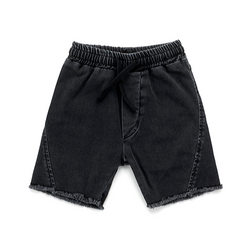Side Hem Denim Shorts - WORLD OF MONOKROME