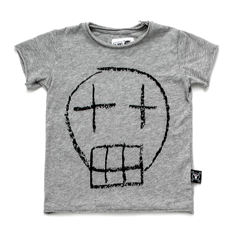 Sketch Skull Tee Grey - WORLD OF MONOKROME
