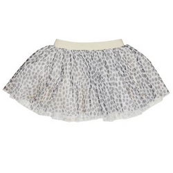 Silver Leopard Tulle Skirt - WORLD OF MONOKROME