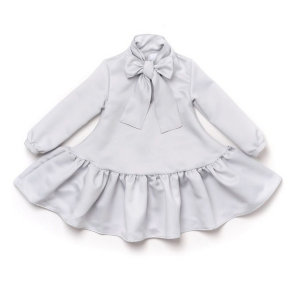Cloud Ruffled Bow Dress - WORLD OF MONOKROME