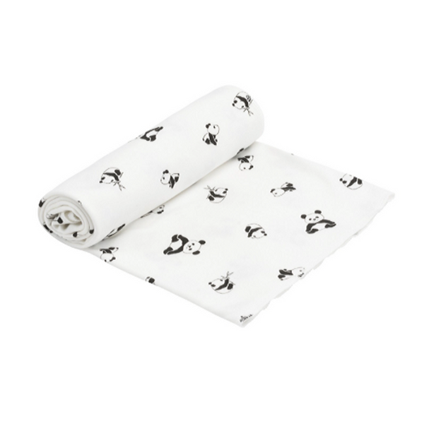 Organic Swaddle Blanket Pandas - WORLD OF MONOKROME